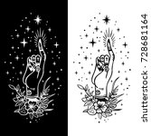 vector traditional tattoo style.... | Shutterstock .eps vector #728681164