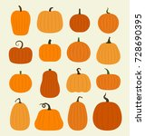 pumpkin set  harvest... | Shutterstock .eps vector #728690395
