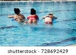 girl on an inflatable beach... | Shutterstock . vector #728692429
