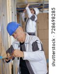 senior builder as craftsman... | Shutterstock . vector #728698285
