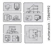 house plan on post mark | Shutterstock .eps vector #72869992