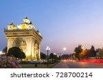 patuxay or patuxai victory... | Shutterstock . vector #728700214