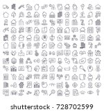 a large set of icons on the... | Shutterstock .eps vector #728702599