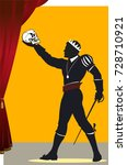 hamlet with a skull in his hand | Shutterstock . vector #728710921