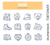 doodle vector icons of hiking... | Shutterstock .eps vector #728724655