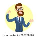 hipster businessman showing... | Shutterstock .eps vector #728728789