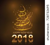 happy new year 2018 and... | Shutterstock .eps vector #728732695