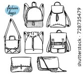 vector set of fashion bags and... | Shutterstock .eps vector #728735479