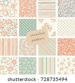 set of 16 vintage seamless... | Shutterstock .eps vector #728735494