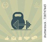 kettlebell and barbell icon | Shutterstock .eps vector #728747665