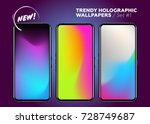 set of holographic gradients.... | Shutterstock .eps vector #728749687