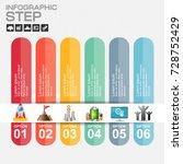6 steps infographic design... | Shutterstock .eps vector #728752429