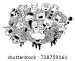 hand drawing doodle monsters | Shutterstock .eps vector #728759161