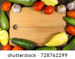 food frame with fresh organic... | Shutterstock . vector #728762299