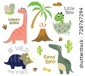 cute vector dinosaurs isolated... | Shutterstock .eps vector #728767294