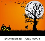 happy halloween. space for text | Shutterstock .eps vector #728770975
