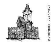 medieval castle. vector drawing ... | Shutterstock .eps vector #728774527