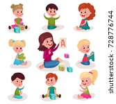 cute little boys and girls... | Shutterstock .eps vector #728776744