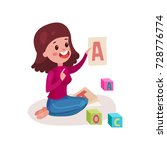 smiling female teacher sitting... | Shutterstock .eps vector #728776774