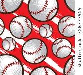 baseball seamless pattern | Shutterstock .eps vector #728777959