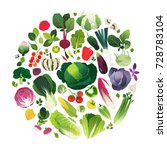 clip art set of vegetables and... | Shutterstock .eps vector #728783104