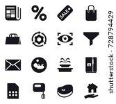 16 vector icon set   newspaper  ...   Shutterstock .eps vector #728794429