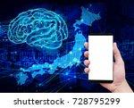 holding smart phone japanese ai | Shutterstock . vector #728795299