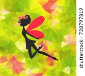 silhouette of little fairy with ... | Shutterstock .eps vector #728797819