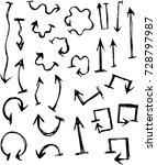 hand drawn arrows . handmade... | Shutterstock .eps vector #728797987