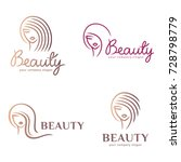 Vector logo set for beauty salon, hair salon, cosmetic | Shutterstock vector #728798779