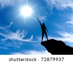 silhouette of a man at the top... | Shutterstock . vector #72879937