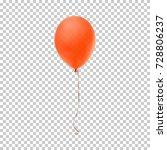 realistic orange balloon... | Shutterstock .eps vector #728806237