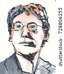 watercolor portrait... | Shutterstock . vector #728806255