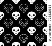 skull outline seamless pattern...   Shutterstock .eps vector #728820595