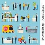 catering set of orthogonal flat ... | Shutterstock .eps vector #728823187
