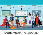 halloween office party with... | Shutterstock .eps vector #728829007