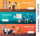 unemployed people three flat... | Shutterstock .eps vector #728831659