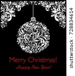 vintage xmas black and white... | Shutterstock .eps vector #728834614