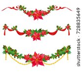 christmas garland with... | Shutterstock . vector #728835649