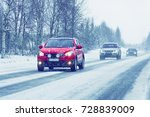 car with head lamp on the snowy ... | Shutterstock . vector #728839009