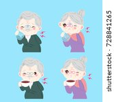 old people with sensitive tooth ... | Shutterstock .eps vector #728841265