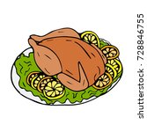 the turkey on the plate on... | Shutterstock .eps vector #728846755