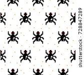 black spider cartoon pixel art... | Shutterstock .eps vector #728847289