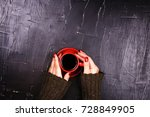 girl holding red cup of coffee... | Shutterstock . vector #728849905