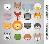 set of animal heads. artwork... | Shutterstock .eps vector #728850055