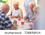 group of pensioners eating... | Shutterstock . vector #728858914