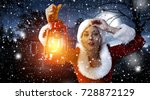 santa claus woman with lamp and ... | Shutterstock . vector #728872129