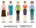 woman dresscode vector...   Shutterstock .eps vector #728874217