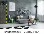 grey sofa with decorative... | Shutterstock . vector #728876464