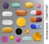 realistic pills blister pack... | Shutterstock .eps vector #728879587